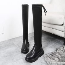 Leather Boots Women Fashion Platform Over The Knee Winter Autumn Fall 2019 New Slip On Soft Black