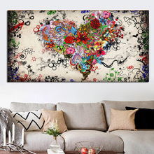 Modern Abstract Colorful Heart Flowers Wall Painting Painted Love Print on Canvas Picture For Living Room HomeDecor