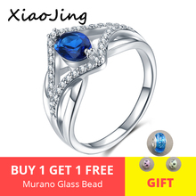 Hot sale 100% 925 Sterling Silver Blue Cubic Zircon Crystal Finger Ring for Women Engagement Anniversary Jewelry Gift