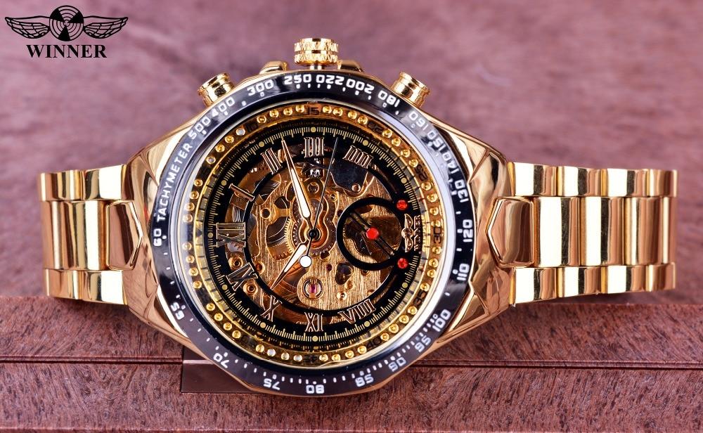 H6d666ed403fa433aa28c115e457e15b5J Winner Mechanical Sport Design Bezel Golden Watch Mens Watches Top Brand Luxury Montre Homme Clock Men Automatic Skeleton Watch
