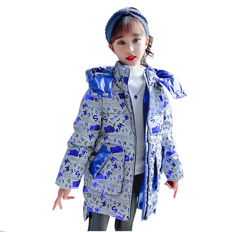 Fashion Brand Shiny Girls Light-Reflecting Jacket Winter Hoodies Letter Print Children's Clothing High Quality Outerwear 4-14Yrs