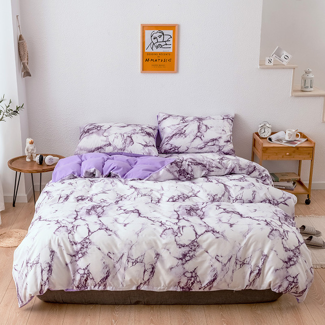 Bedding Set Marbled Purple on White