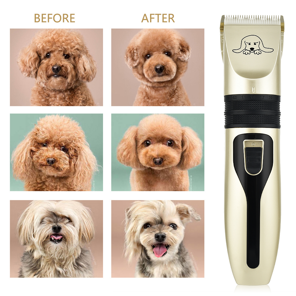 Electric Pet Dog Clipper Dog Hair Trimmer Kit Rechargeable Pet Dog Cat Low-noise Grooming Shaver Cut Machine Set+Spare Blade
