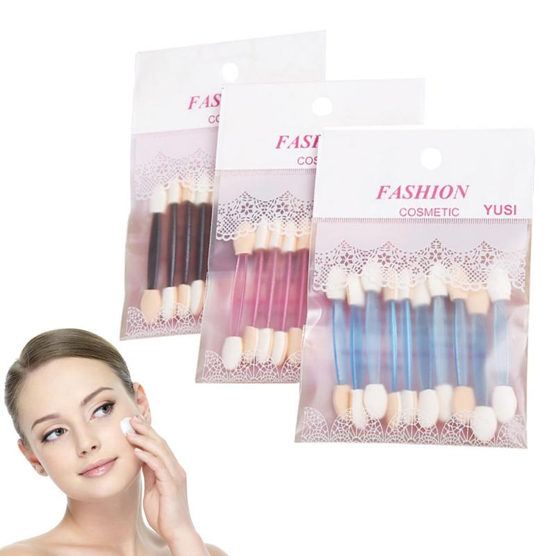 10PC Eyeshadow Applicator Sponge Double Ended Foundation Makeup Brushes Tool Set Eye Shadow Brushes Nail Mirror Powder TSLM1(China)