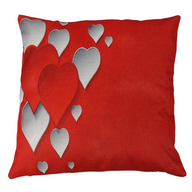 flax Cushion Cover Throw Waist Pillow Case Sofa Home Decor For Valentine's Day heart CNIM Hot