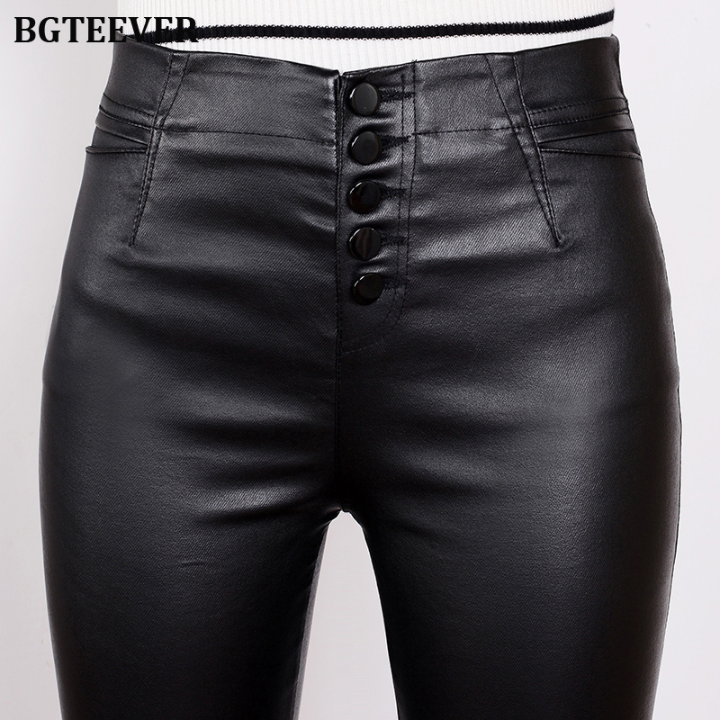 BGTEEVER Stretch Fleece Winter Pants Leather Women PU Warm Female Pencil Velvet Trousers Slim Single-breasted Leather Pants 2019