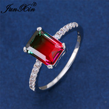 Simple Princess Square Crystal Rings For Women Silver Color Rainbow Fire Zircon Red Green