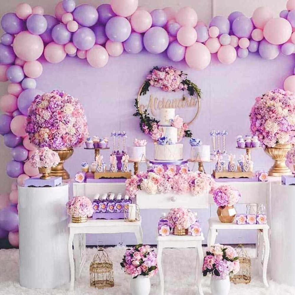 108 Stuks 5/10/12 Inch Pastel Macaron Roze Paars Goud Zilver Metallic Ballonnen Meisje Prinses Verjaardagsfeestje decoratie Benodigdheden