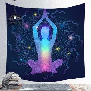 Image 4 - הודי בודהה פסל מדיטציה 7 צ אקרה קיר המנדלה שטיחי קיר בד פסיכדלי יוגה שטיח Boho דקור