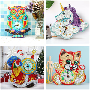 Animal Cartoon Cat Owl Diy Diamond Painting Clock Christmas GIft Home Decorate Unicorn Diamond Mosaic Home Decoration Wall Clock(China)