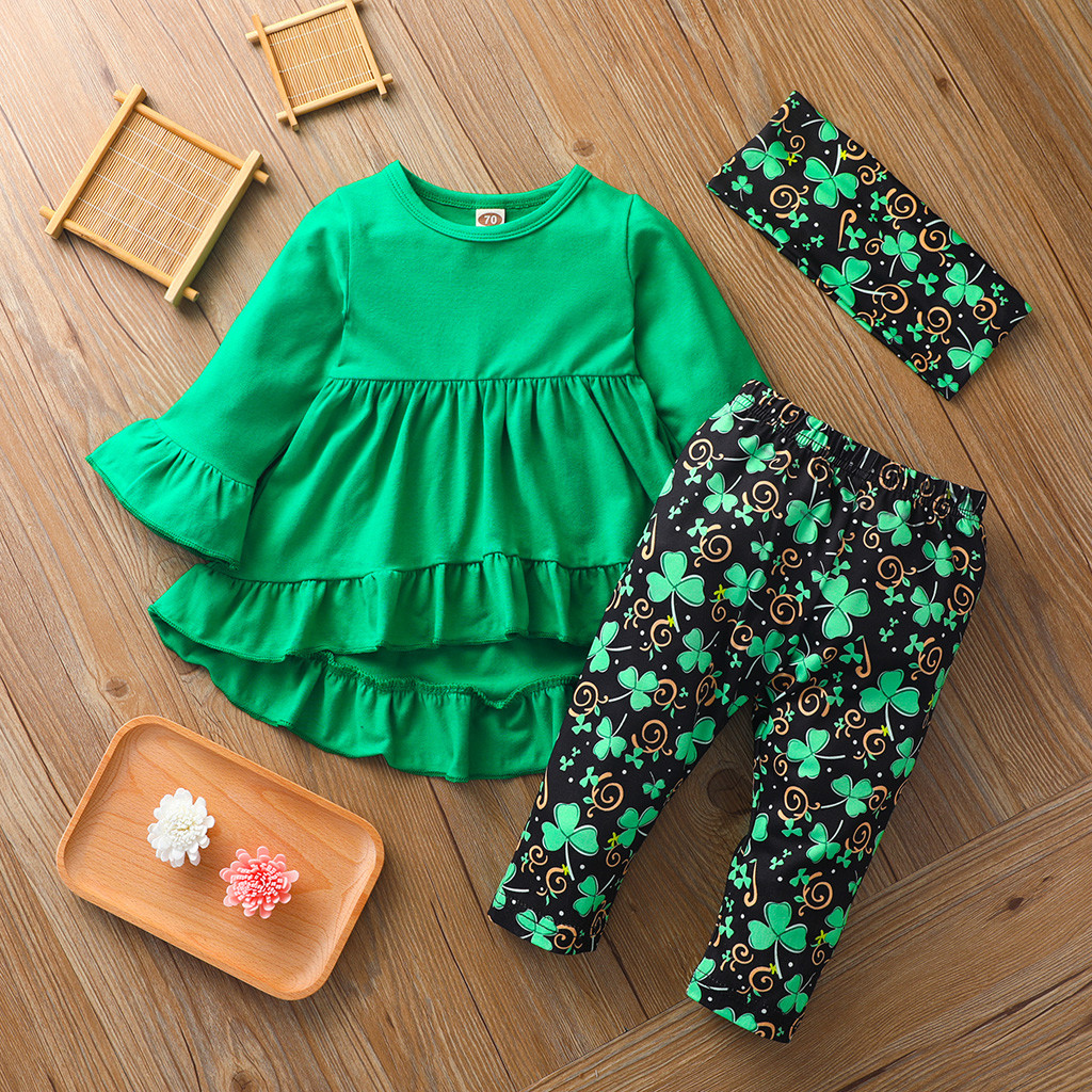 Girl Outfits Pants Legging Tunic St-Patricks Newborn Green Long-Sleeve Day  title=