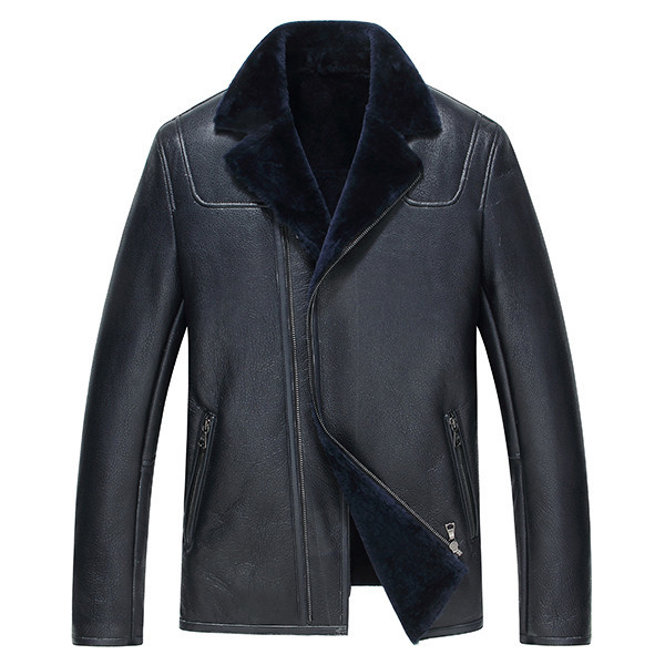 Leather Jacket Winter Jacket Real Wool Fur Liner Coat Genuine Sheepskin Coat Motorcycle Jacket Chaqueta JLK16616 Y1370