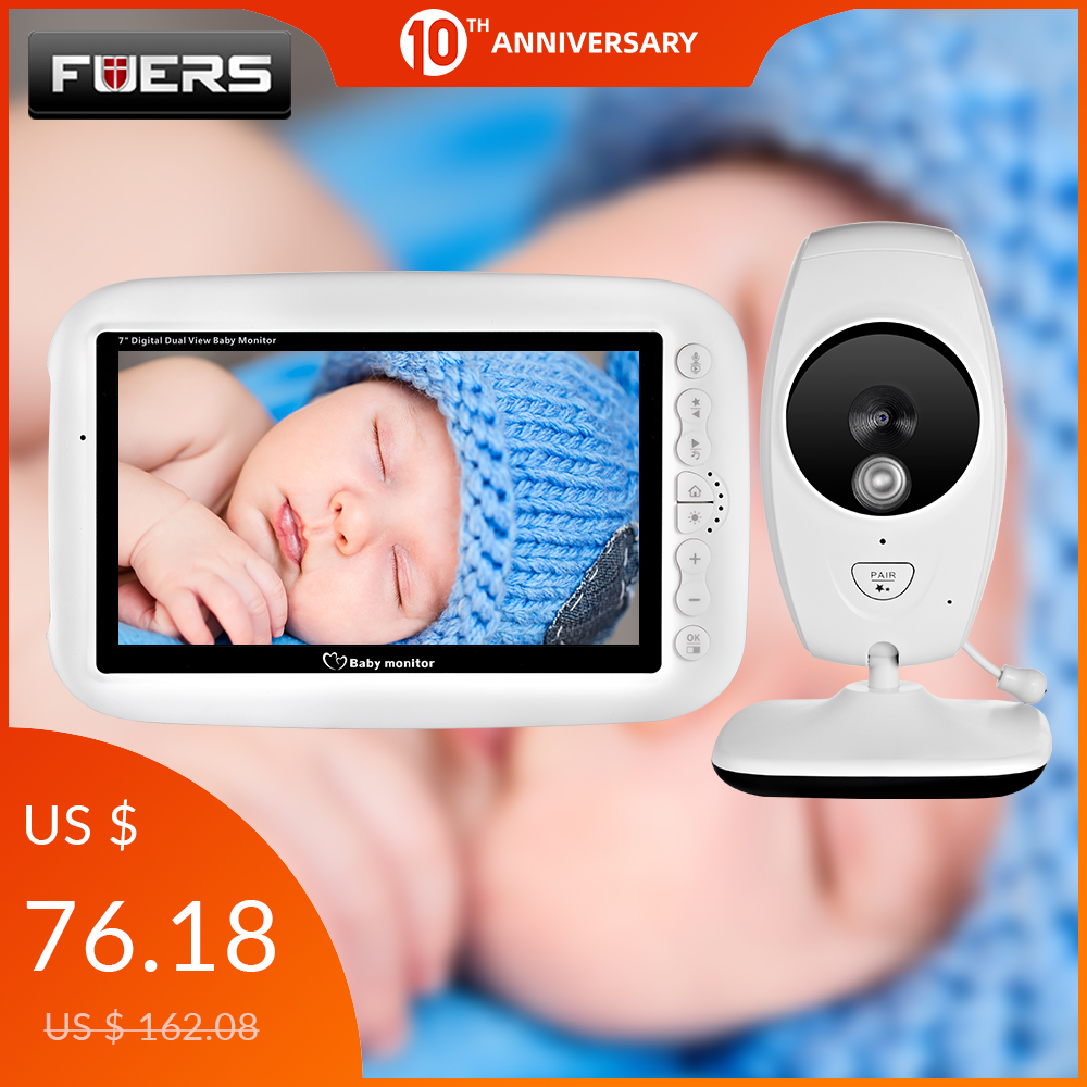 7 Inch 720P Wireless Video Nanny Baby Monitor High Resolution Night Vision Up To 4 Cameras Paired Baby Camera Temperature Sensor