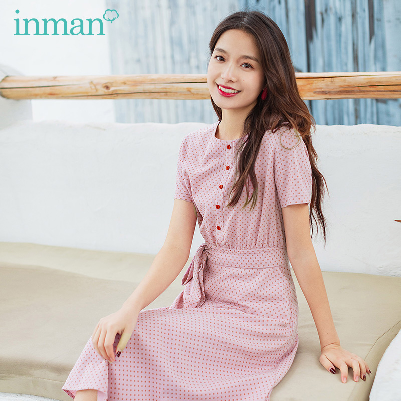 INMAN Summer New Arrival Vintage Dot Bow Tie Waist Belt Holiday Style Dress