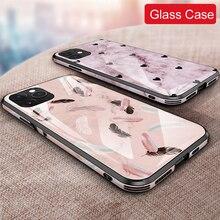 Pour iPhone 11 pro / 11 pro max 6d étui en verre trempé peint dos + cadre couvercle en verre anti déflagrant pour iphone 11 étui en verre