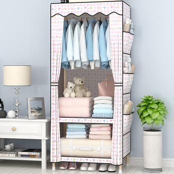Wardrobe simple and simple economical fabric solid wood single small bedroom rental cloth wardrobe
