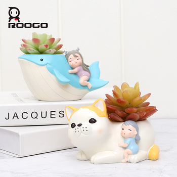 Roogo Plant And Succulent Pot The Fairy Tale Girl With Her Pets Lovely Home Desktop Decoration Childs Gift For Birthday Bonsai unknown paulina and her pets
