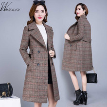 Winter Women Wool Blends Plaid Trench Long Coat Autumn Elega