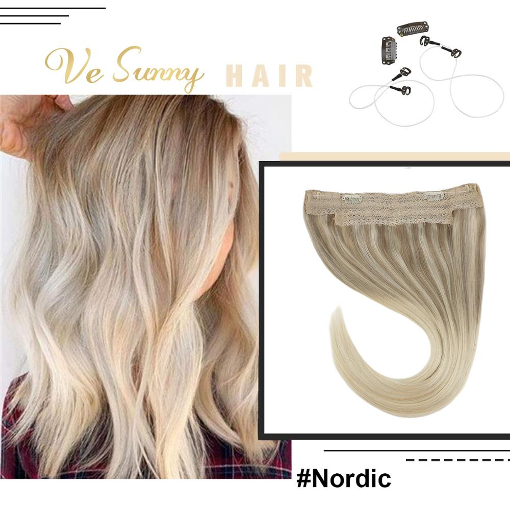 VeSunny One Piece Invisible Halo Hair Extensions 100% Natural Human Hair Flip In Wire With 2 Clips Balayage Nordic Blonde #18/60