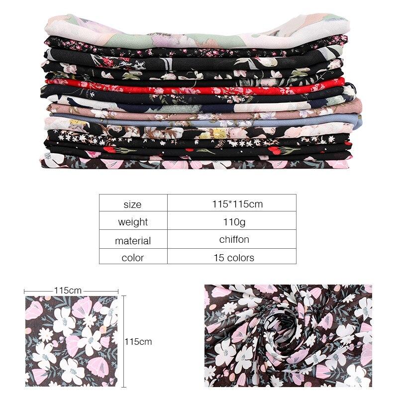 Image 4 - 115cm Printe chiffon Square hijab scarf chiffon wraps flower shawls muslim lightweight headband wraps islamic scarves 10pcs/lot-in Women's Scarves from Apparel Accessories