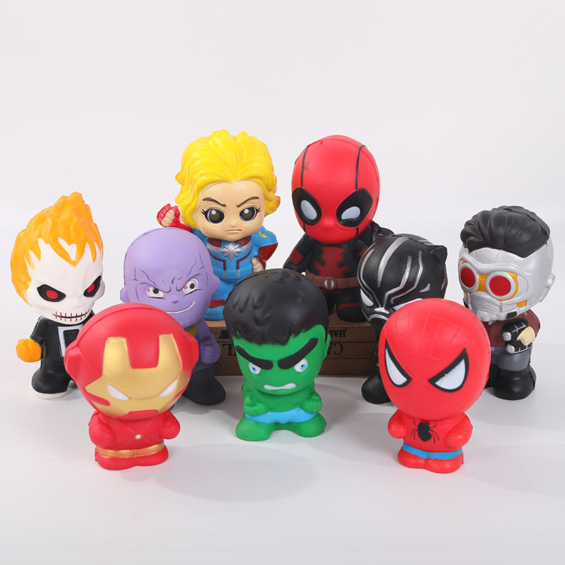 Marvel DC Super Hero Squishy Slow Rising Iron Man Spiderman Thanos Squishies Toy Jumbo Squeeze Stress Relief Toys For Kid