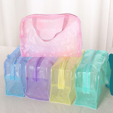 Fashion Transparent Waterproof PVC Portable Makeup Cosmetic Toiletry Travel Toothbrush Organizer Bag Storage Box