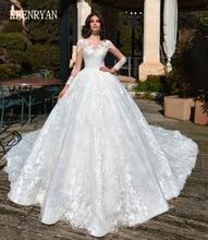 KEENRYAN 섹시한 레이스 웨딩 드레스 2020 긴 소매 특종 로브 드 Mariee 사용자 정의 채플 기차 Vestido 드 Novia 웨딩 드레스 만들기