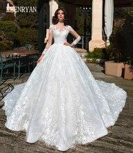 KEENRYAN Sexy koronkowa suknia ślubna 2020 z długim rękawem Scoop szata De Mariee Custom Make Chaple pociąg Vestido De Novia suknie ślubne