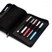Kaco caneta bolsa caso de lápis saco disponível para 10 caneta/rollerball caneta caso titular armazenamento organizador saco preto à prova dwaterproof água