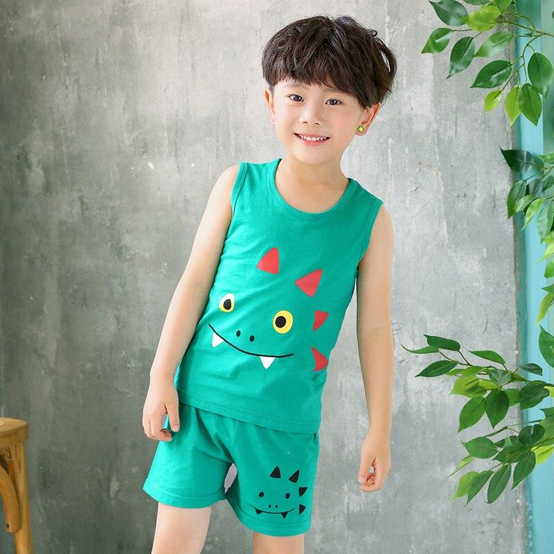 Kids Clothes Summer Children Pajamas Sets Baby Girls Boys Cartoon Sleepwear Cotton Vest+Pants Clothing Suit Toddler Pyjamas Kids 3