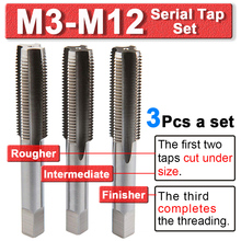 M3-M12 Right Hand Tap Drill Hss Metric Serial Tap Set Hss-Co Screw Taps Thread Cutter Machine Taps 3Pcs Set Wood Drill Bits Tool 1 2 28 unef 5 8 24 unef hand tap round die cut hss right hand tapping tool for hand tap tools tapping set