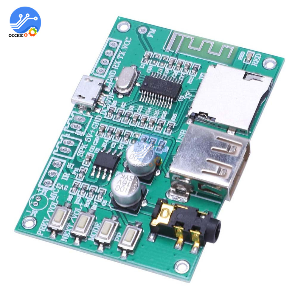BT201 Dual Mode Bluetooth 5.0 Audio Amplifier Board Module Support TF Card U Disk Spp Serial Port Lossless Power Amplifier