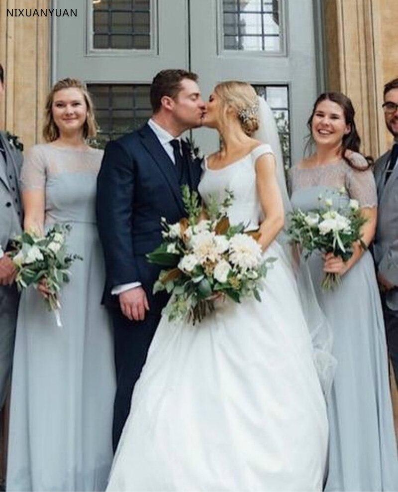 A-ligne robes de mariée simples sans manches Satin pays jardin robes de mariée sur mesure blanc ivoire robes de mariée