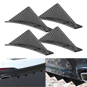 4pcs universal carbon fiber car modified rear bumper diffuser triangle spoiler For BMW E46 E90 E60 E39 E36 F10 F30 X5 E53 E70 image