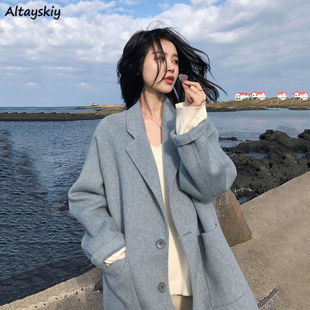 Woolen Coat Women Vintage Blue Ulzzang Korean Trendy Elegant Females Winter Coat All-match Loose Thick Streetwear Casual Fashion