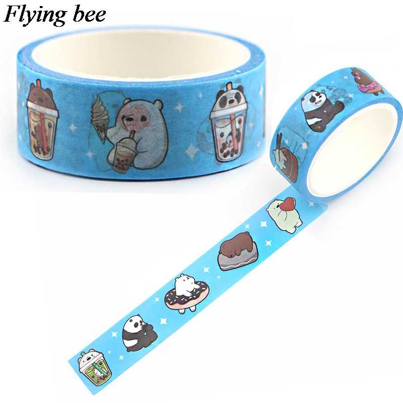 Flyingbee 15mmX5m We Bare Bears Paper Washi Tape Cartoon funny Adhesive Tape DIY Scrapbooking Sticker Label Masking Tape X0614