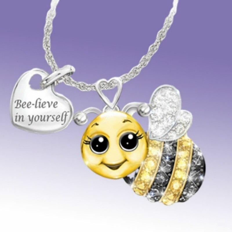 Hot Sale Zircon Cartoon Animal Pendant Necklace Woman Personality Bee Owl Ladybug Lettering Sweater Chain Korean Fashion Jewelry