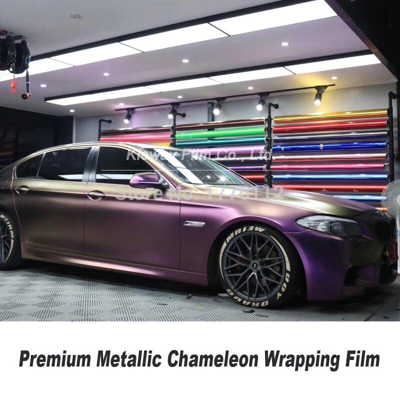 Highest Quality Chameleon Vinyl Wrap Car Wrapping Paper With Air Bubble Free Wrapping Film Matt Diamond Purple Black Vinyl