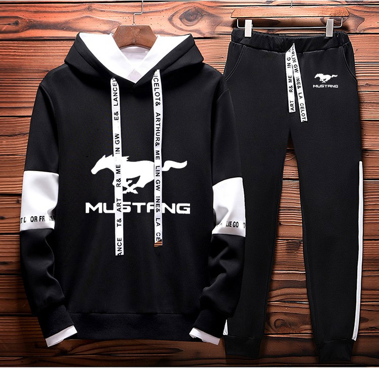 Mens Hoodies Sweatshirt Mustang Car Logo Printed 2019 Spring Autumn Hoodies+Pants 2Pcs Sporting Suit Fleece Warm Thick Sportwear