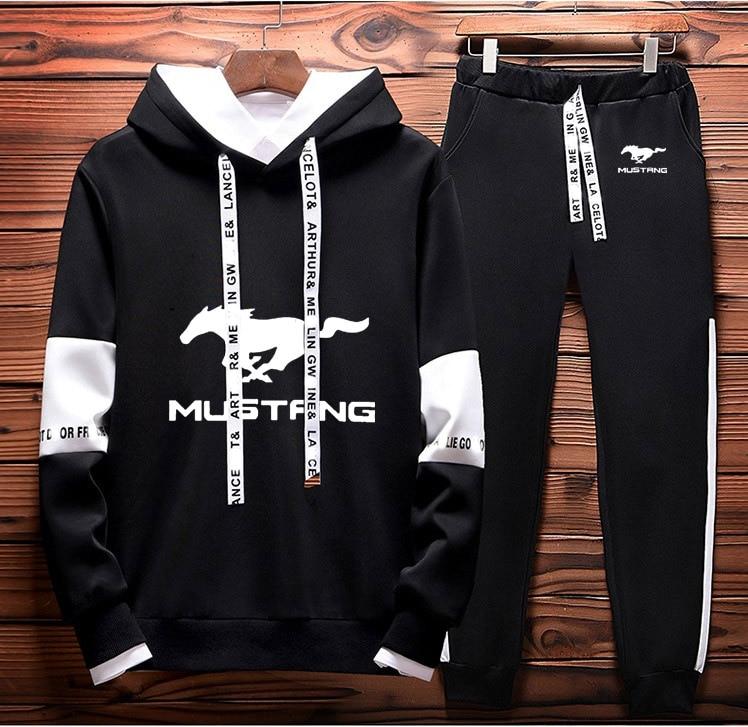Mens Hoodies Sweatshirt Mustang Car Logo Printed 2019 Spring Autumn Hoodies+Pants 2Pcs Sporting Suit Fleece Warm Thick Sportwear