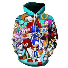 Sonic 3D New Fashion pullover Hoodies Casual Long Sleeve Sweatshirt boys/girls  Clothes thin style baby cartoon sweatshirt