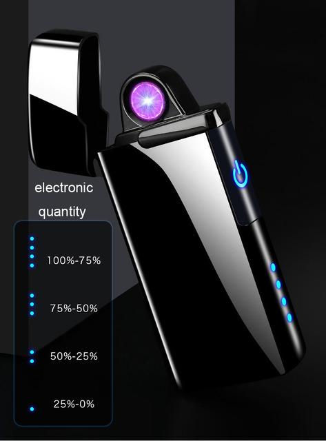 Nuevo encendedor de Plasma doble a prueba de viento electrónico USB recarga de arco de cigarrillo fumar encendedor eléctrico