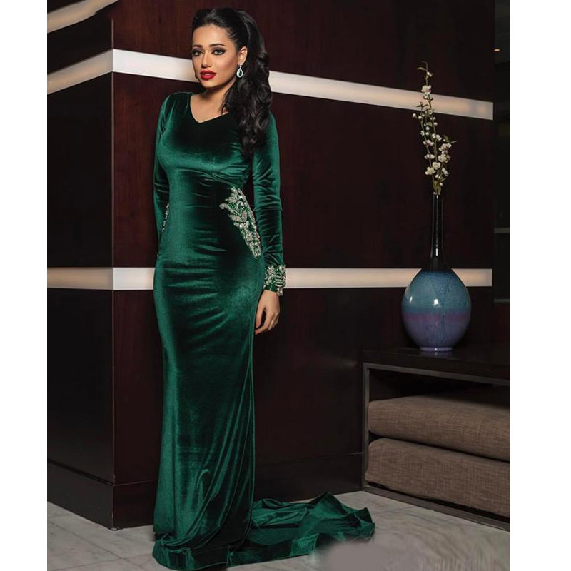 Emerald Green Evening Formal Dresses with Beaded Beading V-neck Long Sleeve Velvet Mermaid Arabic Muslim Dubai Prom Gowns