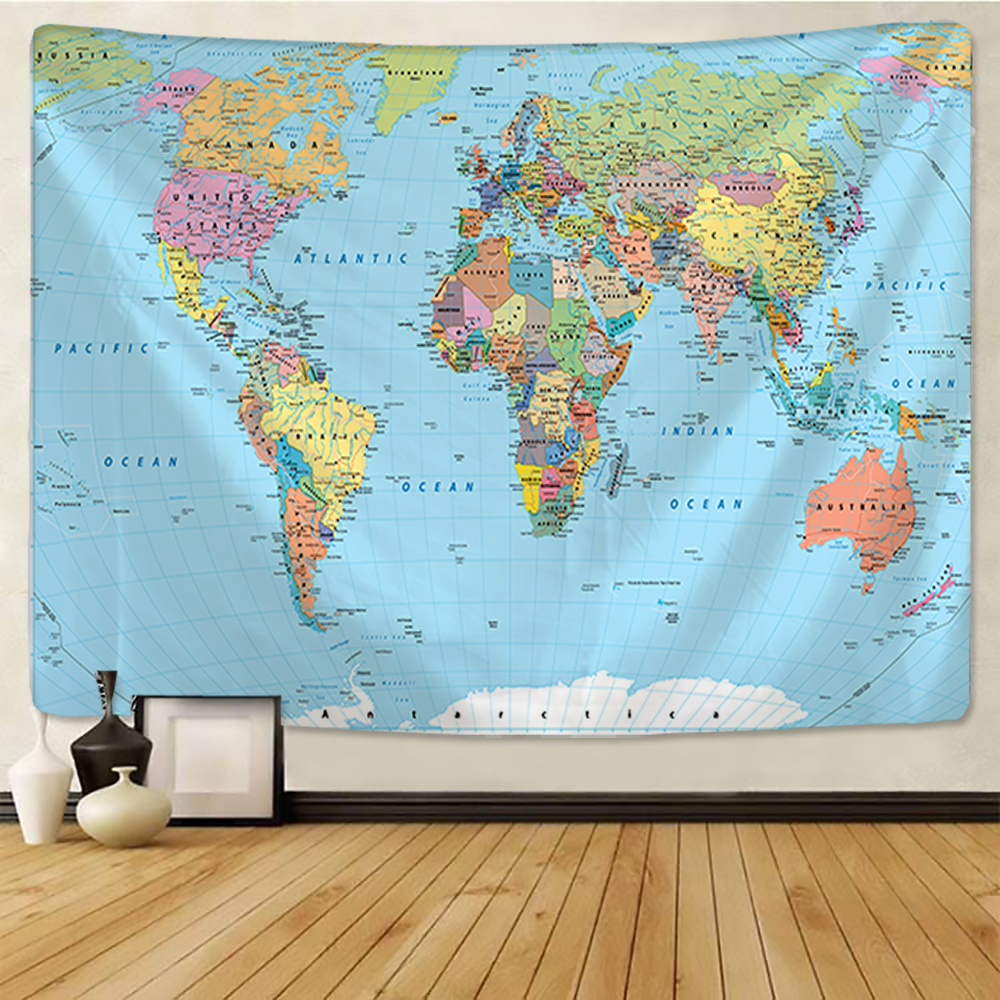 World Map Tapestry High-Definition Map Fabric Wall Hanging Decor Watercolor Map Letter Polyester Table Cover Yoga Beach towel