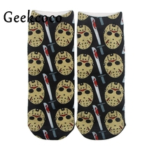 Friday the 13th punk 3D Printed short Tube cotton Socks for Women men boy Girls Adult Sports Stocking One Side Printing J0506