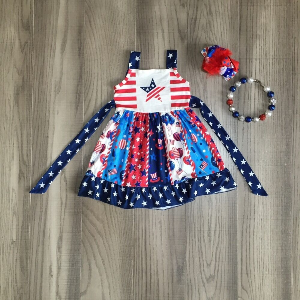 Baby Girls Clothes Girls Summer Twirl Dress Girl July 4th Dress Girls Us Star Dress With Accessories