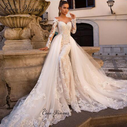 Vintage Long Sleeves Button Illusion Delicate Embroidery Detachable Wedding Dresses Robe De Mariage Sirene Champagne W0613