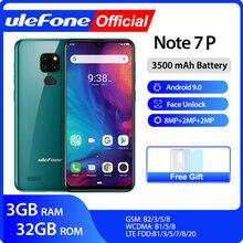 הערה Ulefone 7P Smartphone אנדרואיד 9.0 Quad Core 3500mAh 6.1 אינץ ואטארדרוף מסך 3GB + 32GB נייד טלפון