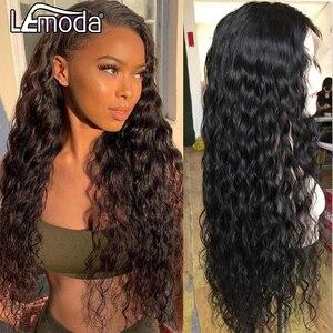 HD прозрачные кружевные парики 13x6 13x4 волна воды Синтетические волосы на кружеве парики из натуральных волос для Для женщин Lemoda бразильское з...