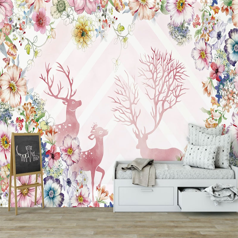 Seamless Wallpaper Cartoon Modern Minimalistic Watercolor Botanical Flower Elk Children Room Background Wall